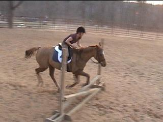 Cathy jumping Mattie